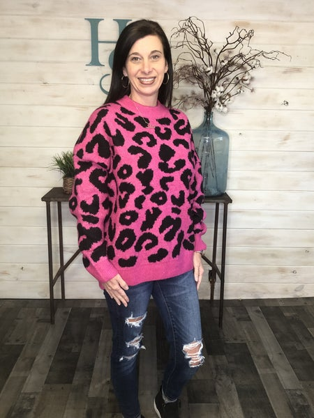 Adora Fuchsia Animal Print Sweater