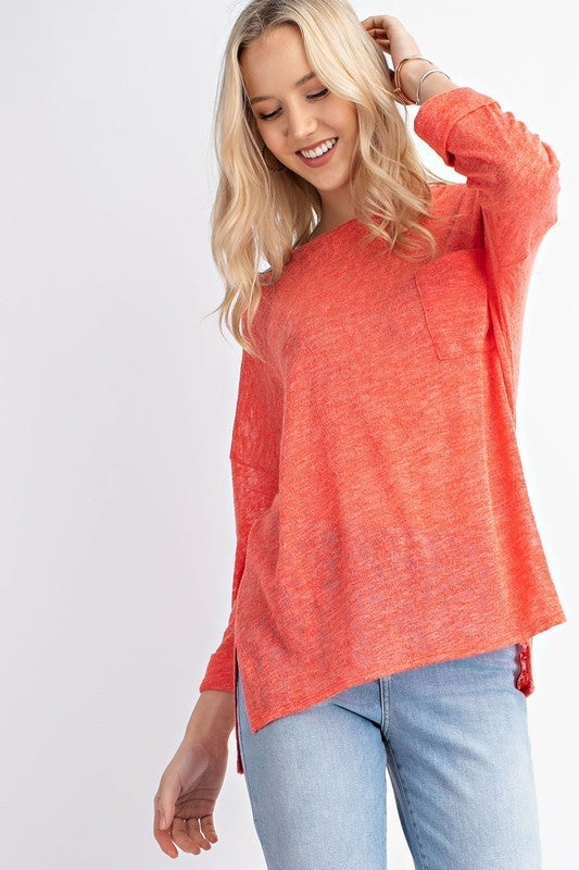 "Spring 3/4"" Sleeve Knit Top - Coral and Yellow *Final Sale*"