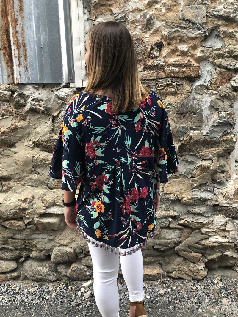 Navy Floral Top with Multi Colored Tassels *Final Sale*