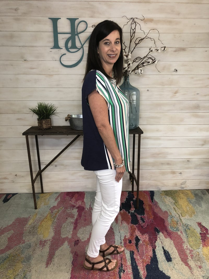 Green & Navy Striped Top featuring Floral Print Detail *Final Sale*