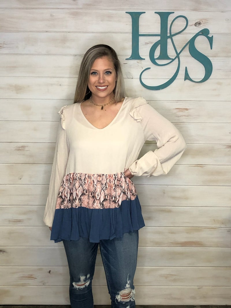 143 Story Taupe Top with tiered Pink/Blue Snake