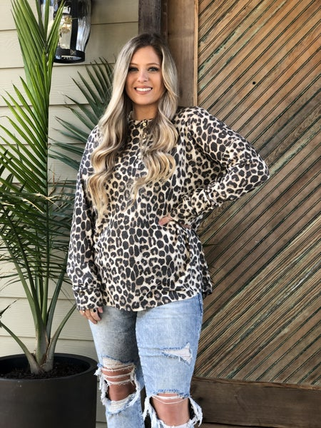 Animal Print Henley Top