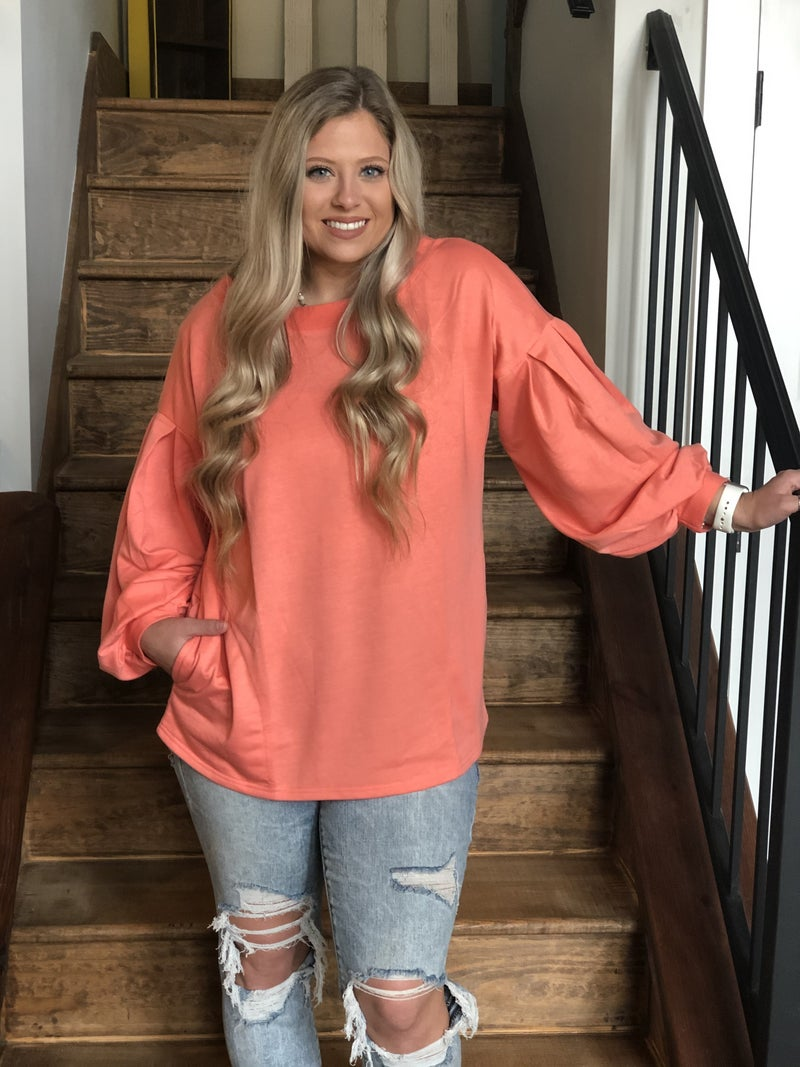 Coral Balloon Sleeve Top