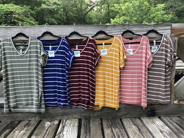 New Colors!!  Basic Stripe Top with V Neck Split Hi Low Hem