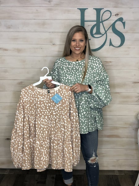 Leopard Dot Bubble Sleeve Top