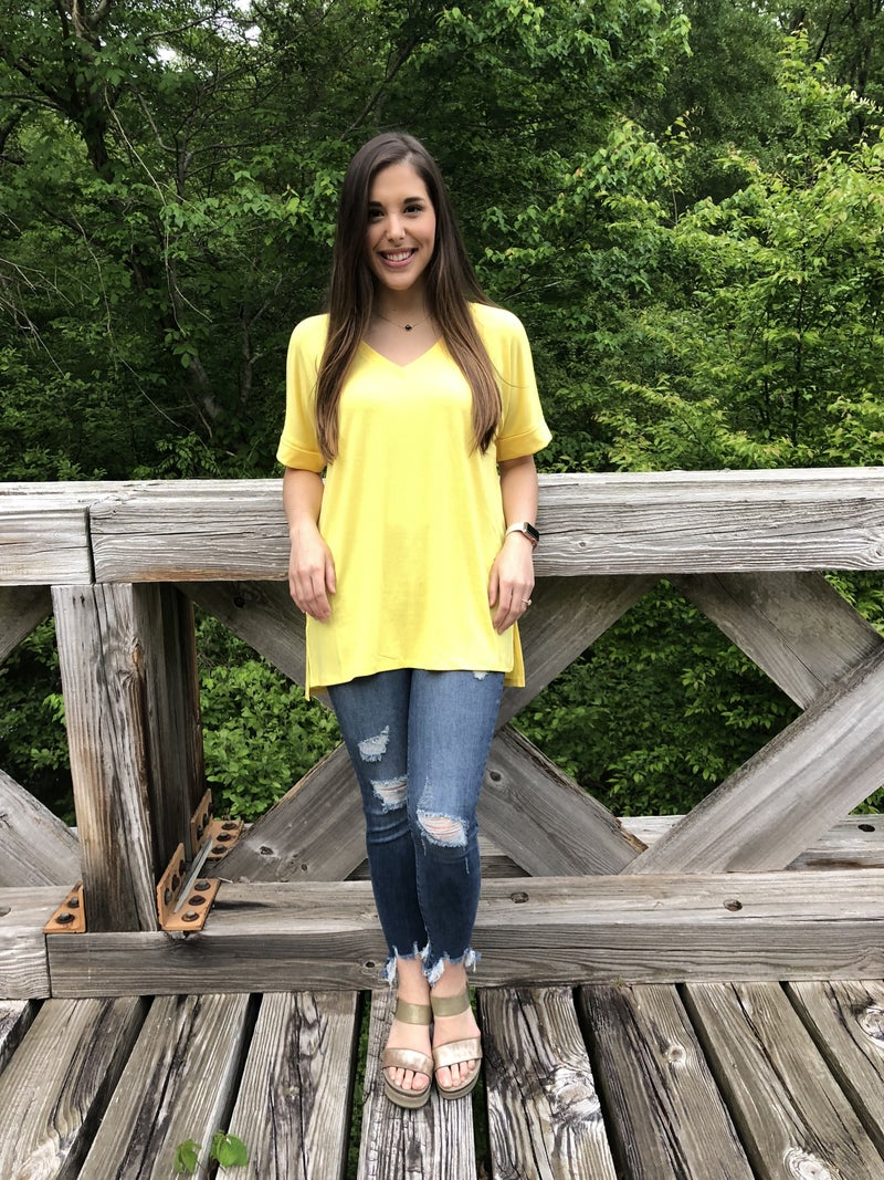 Basic Top with Cuff Sleeve and V Neck