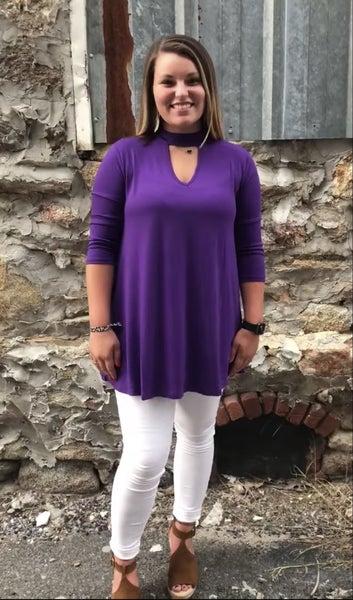 Zenana Purple Keyhole Top
