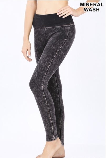 Mineral Wash Fold Over Leggings
