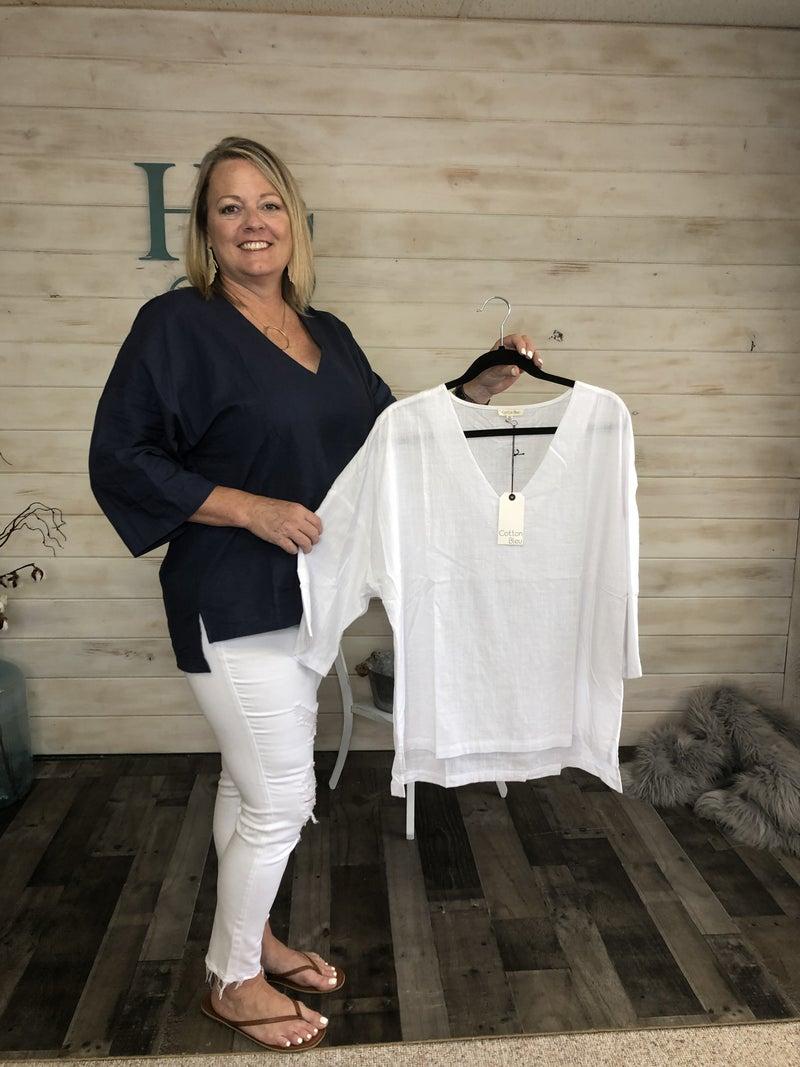 Cotton Bleu Top in Navy & White *Final Sale*