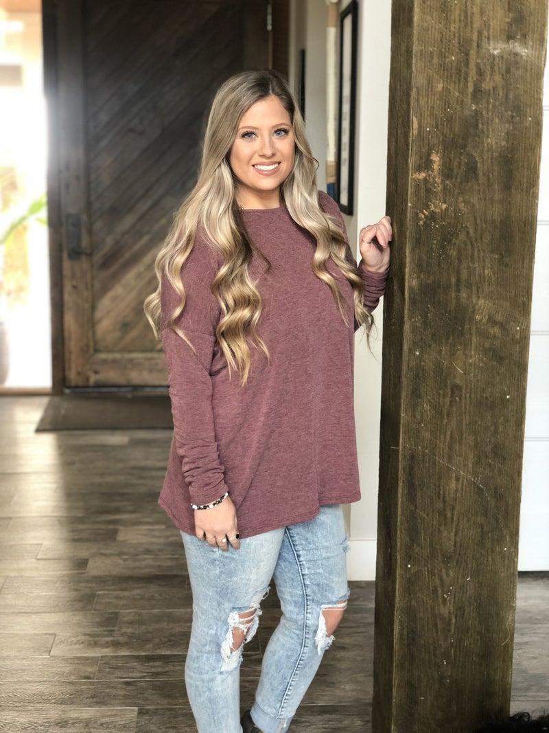 Cherish Heathered Long Sleeve Burgundy Top
