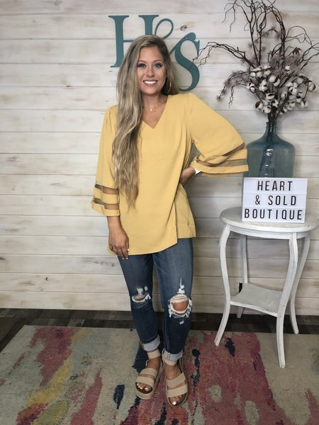 Bell Sleeve Top with Mesh Detail New Colors