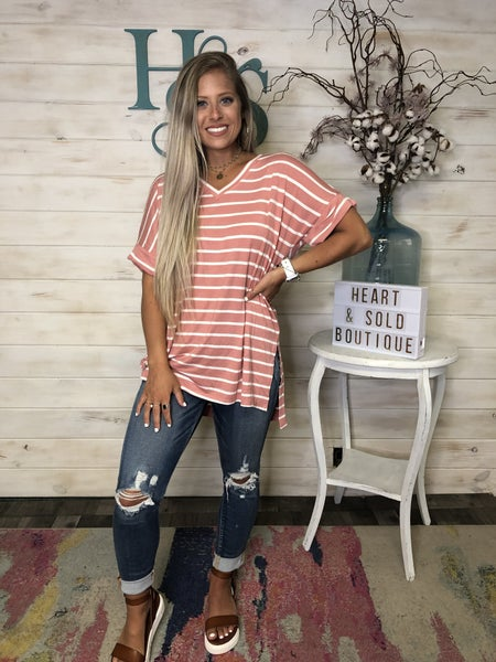 Super soft Basic Stripe Top with split sides