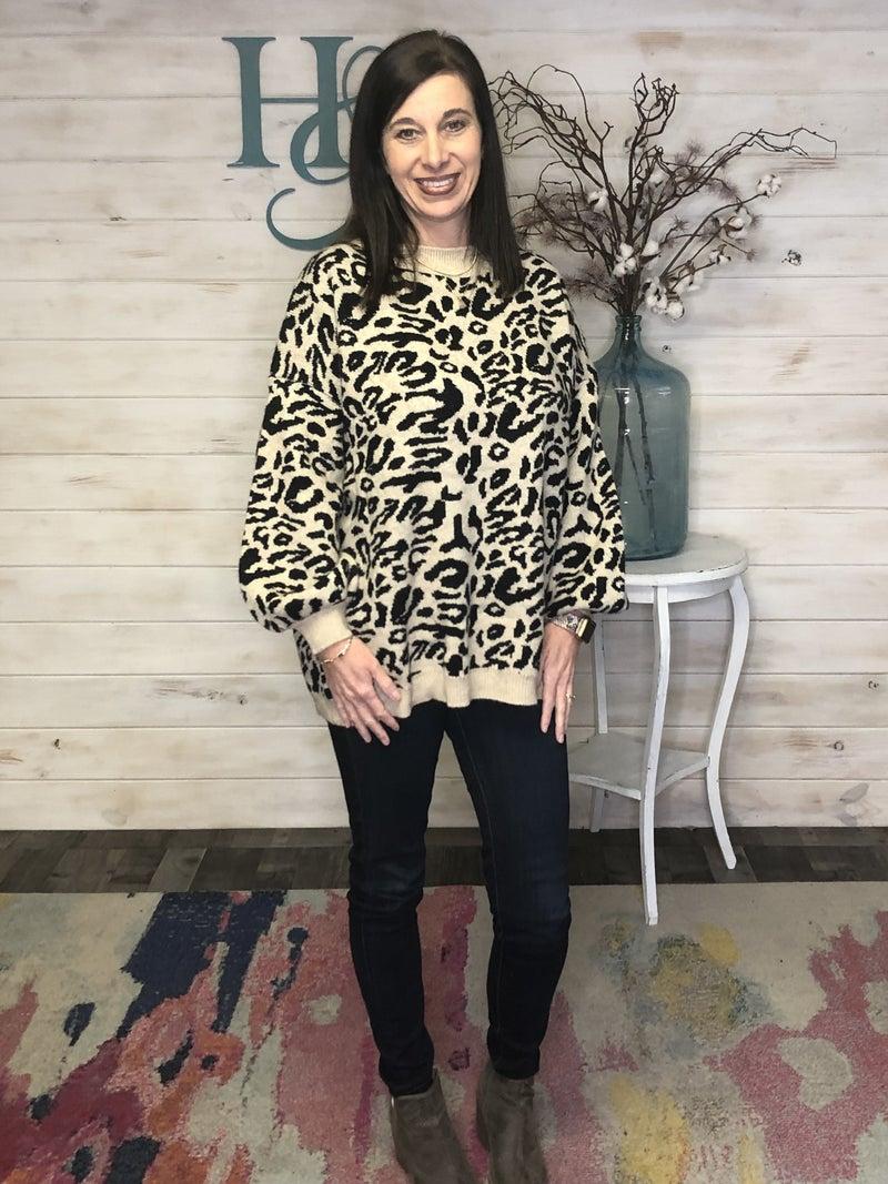 Adora Mocha & Black Animal Print Sweater