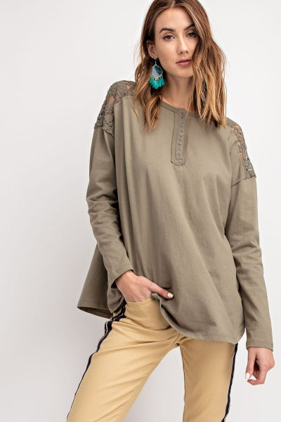 Long Sleeve Cotton Henley with lace detail *Final Sale*
