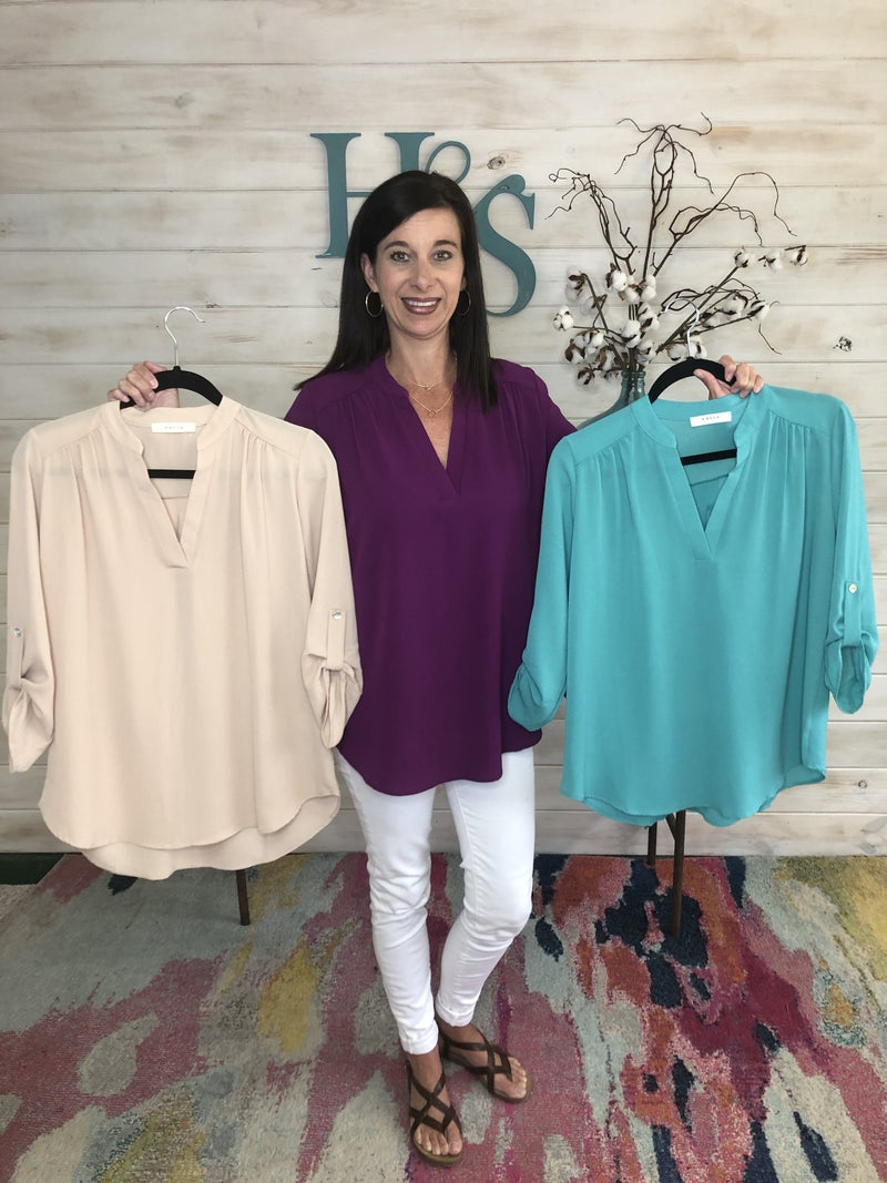 V Neck Blouse with Rolled Tab Sleeves *Final Sale*