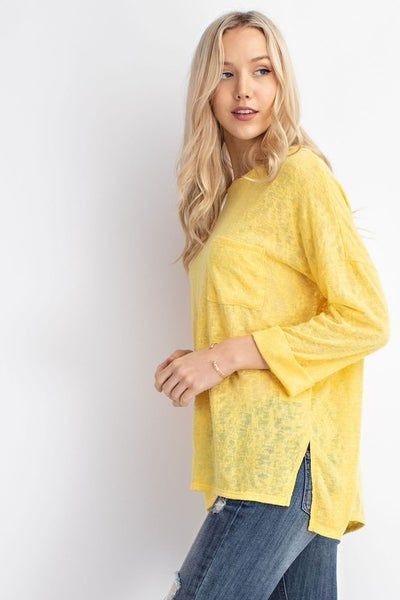 """Spring 3/4"""" Sleeve Knit Top - Coral and Yellow *Final Sale*"""