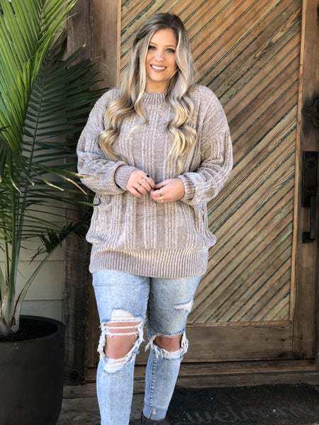 Grey Ribbed Chenille Sweater