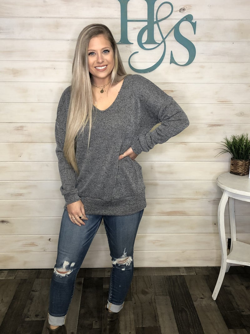 Heathered Knit Top with V-neck