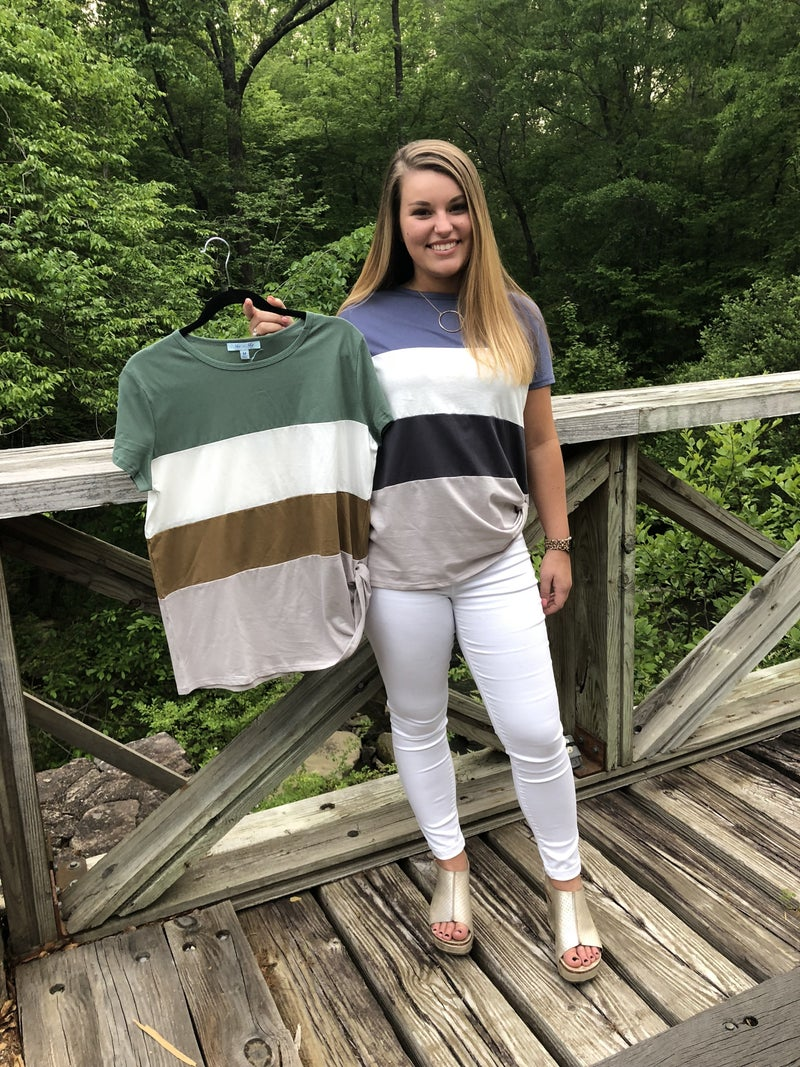 Color Block Top with Side Twist *Final Sale*