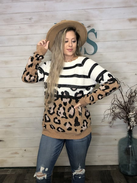 Animal Print Color Block Sweater