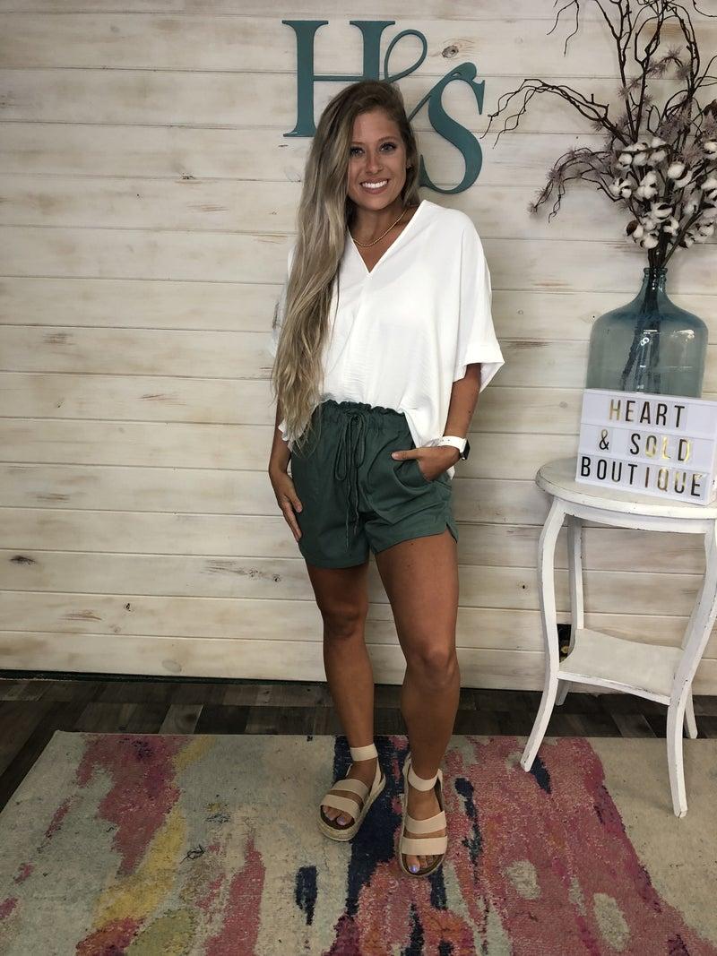 Green Drawstring Shorts