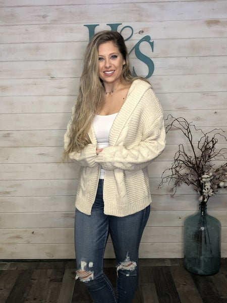 Cream Cable Knit Cardigan with hoodie