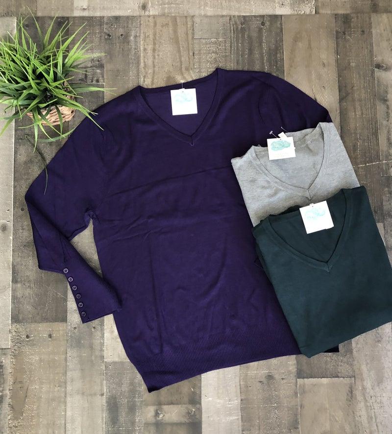 Zenana V-Neck Light Weight Sweater in Plus *Final Sale*