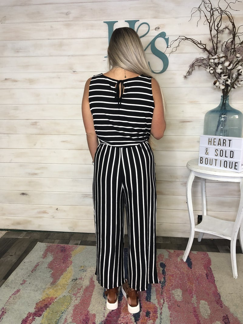 Cropped Length Striped Drawstring Jumpsuit