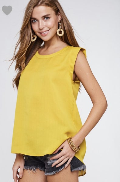 Sage & Mustard Sleeveless Top with Back Pleat Detail *Final Sale*