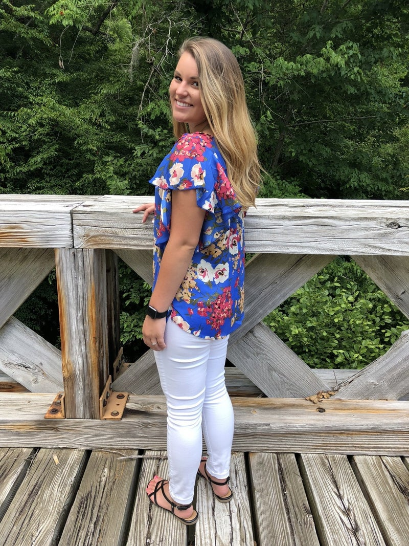 Floral Print Short Ruffle Sleeve with Split V-Neck Top *Final Sale*
