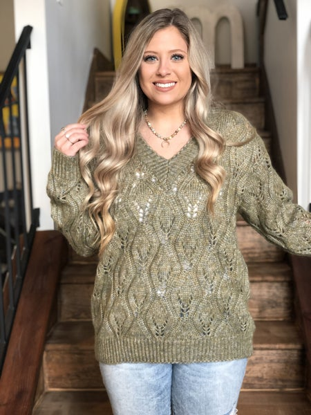 Adora Olive V-neck Sweater