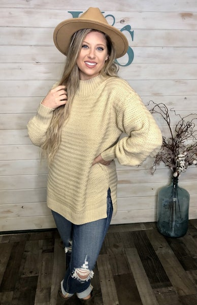 Ribbed Latte Sweater