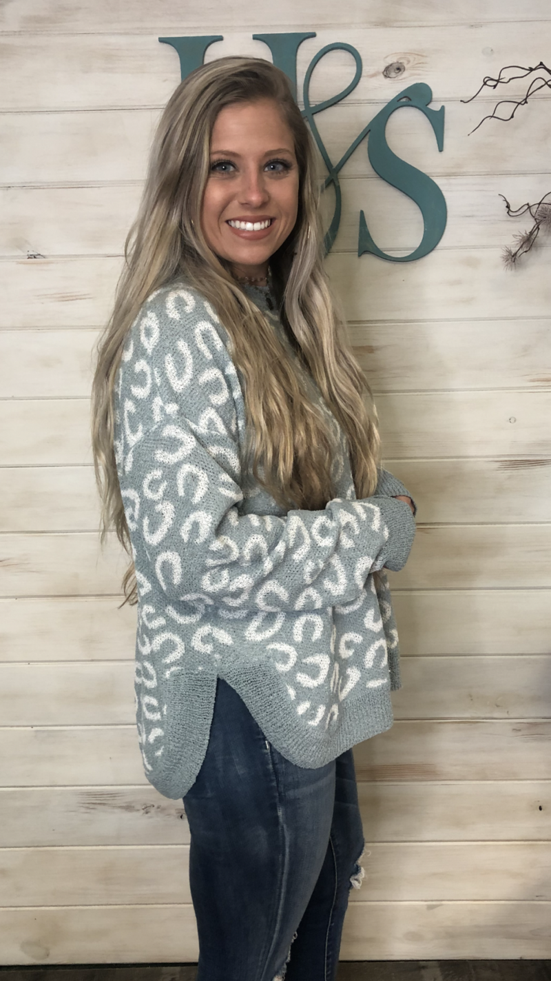 Listicle Sage Animal Print Sweater