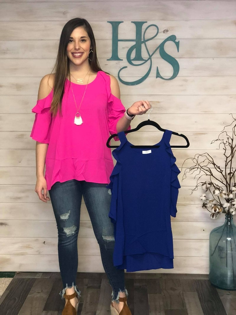 Umgee Cold Shoulder Blouse with Ruffles *Final Sale*
