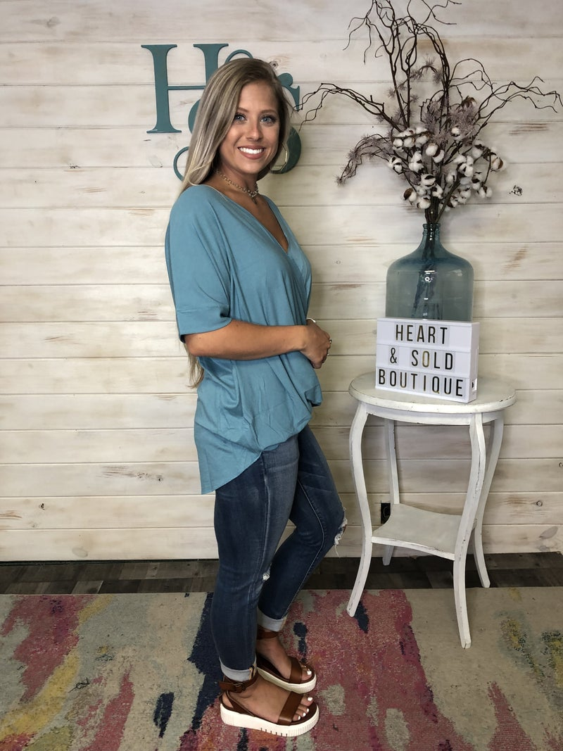 Crepe  Top with Criss Cross  front detail