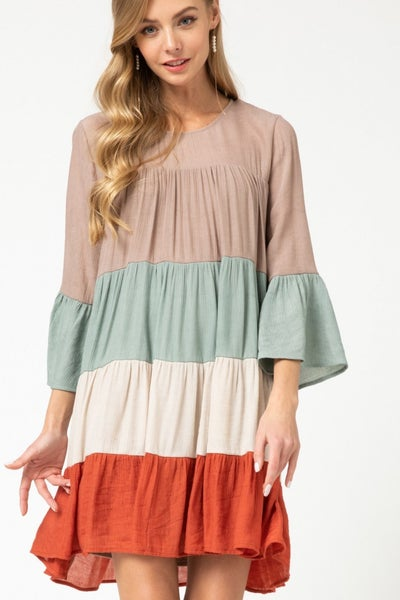 Entro Latte Combo Tiered Dress