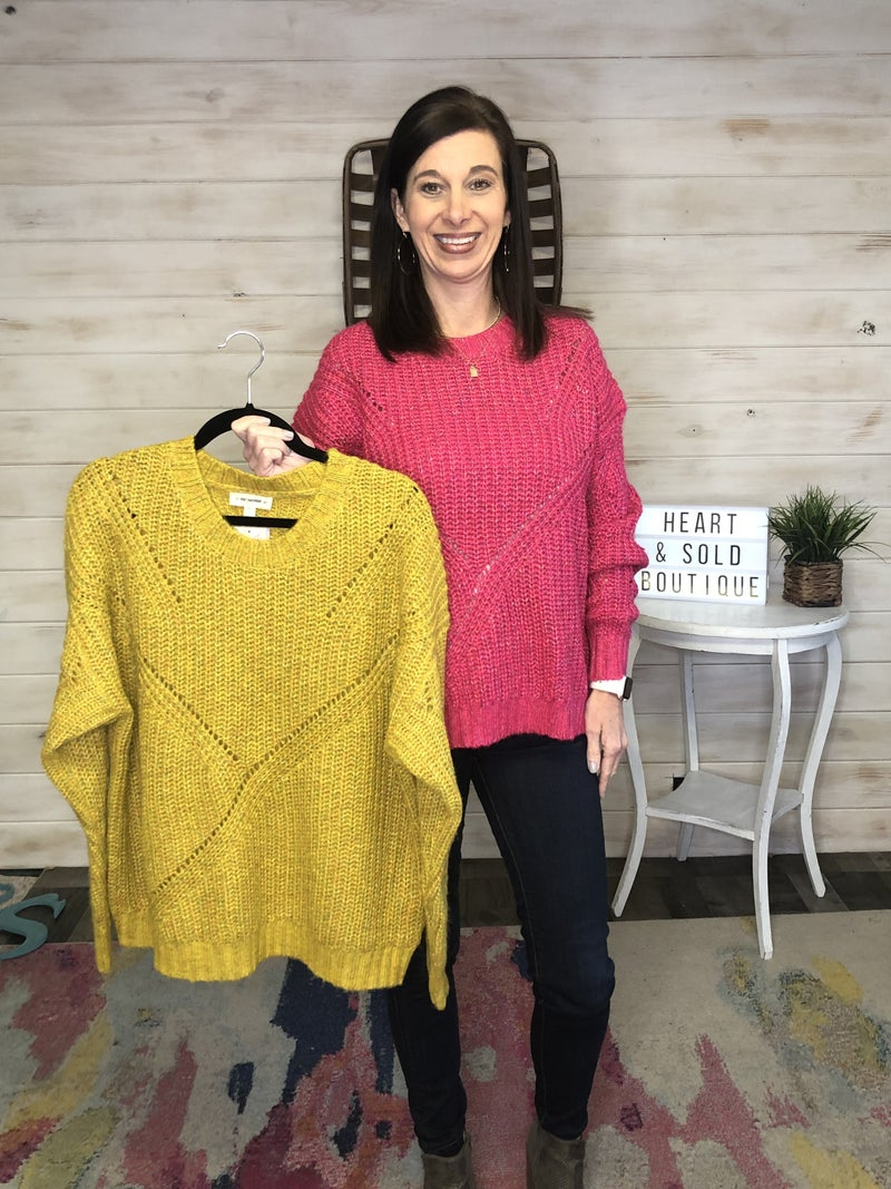 Eesome Speckled Sweater (Hot Pink/Mustard)