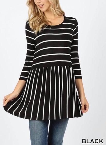 Zenana Black with White Stripe Babydoll Top