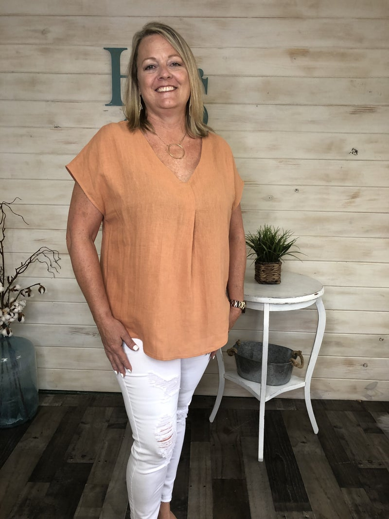 Washed Cotton/Linen V-Neck Top in Copper *Final Sale*