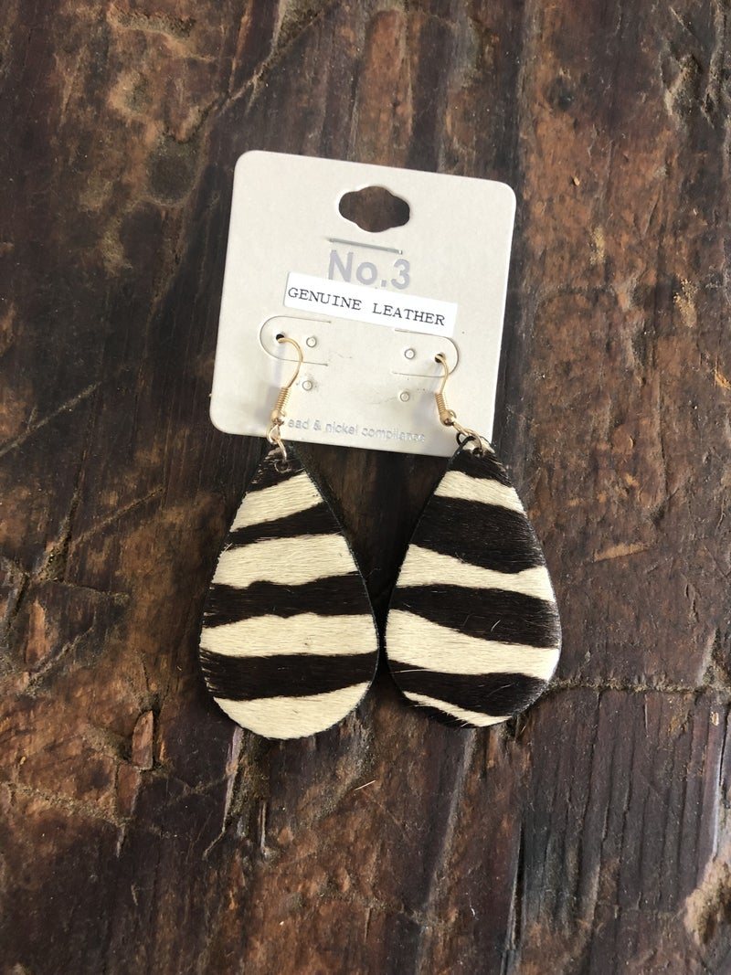 Animal Print Genuine Leather Tear Drop Earring