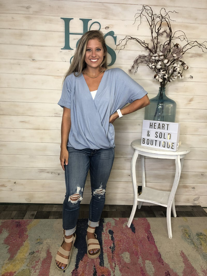 Crepe Top with Criss Cross Front Detail - New Colors