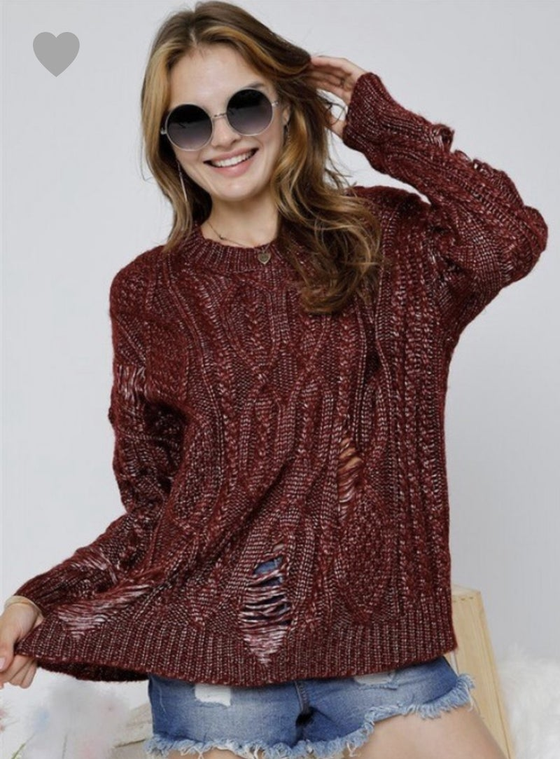 Adora Distressed Sweater Black/Burgundy