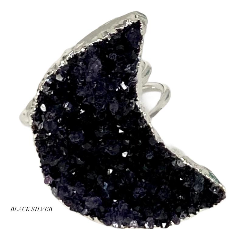 Moon Goddess Druzy Ring
