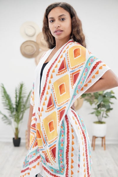 Abstract Print Poncho