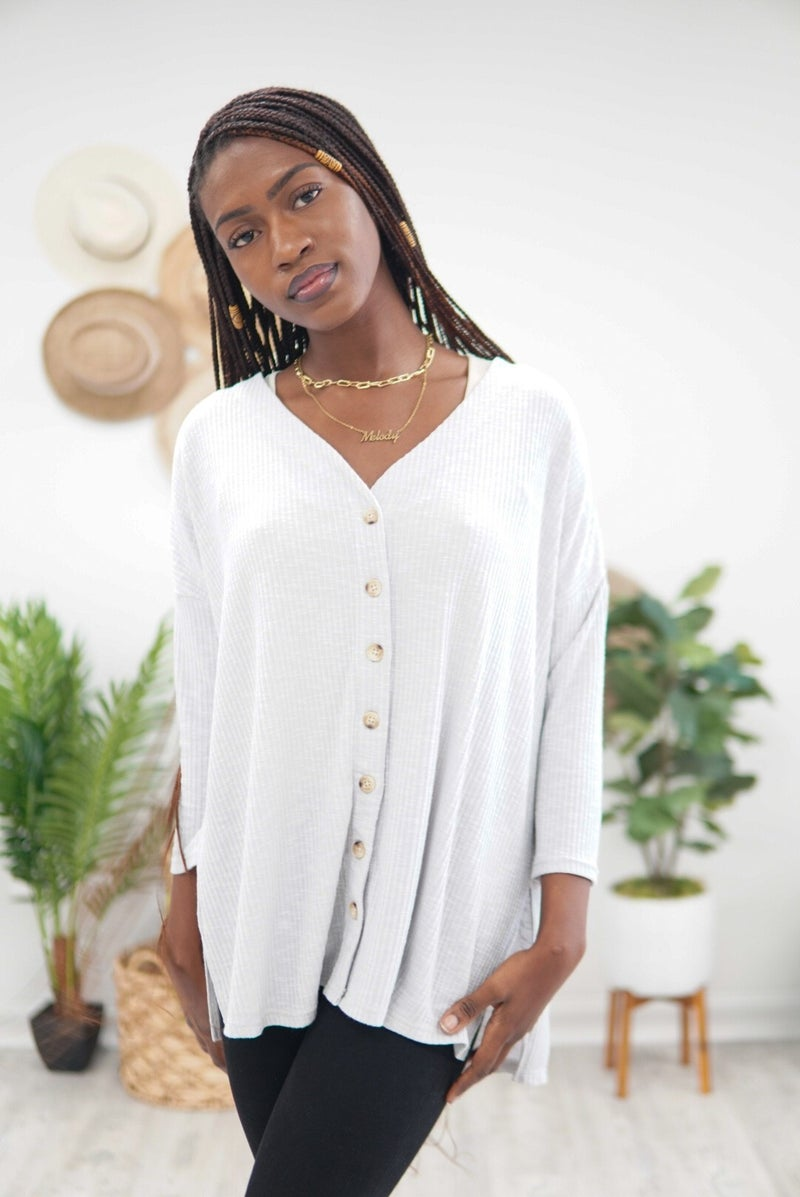 Ribbed and Buttoned Icy Grey Top