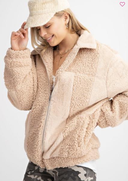 Checkered Fur Teddy Jacket