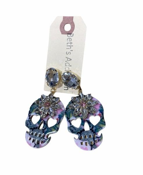 Extra Boujee Skull Designer Bling Earring