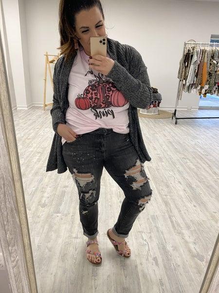 Judy Blue Destroyed Cuffed Boyfriend Jeans