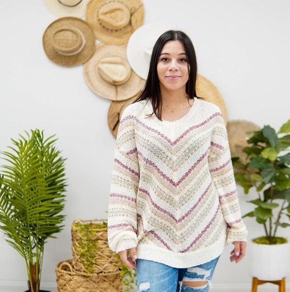 Unapologetic V Striped Sweater