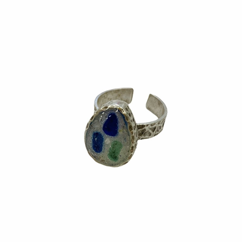 Sea Glass And Beach Sand Ring